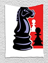 Ambesonne Board Game Tapestry, Chess Themed Pieces Design Pawn Silhouette and Knight, Wall Hanging for Bedroom Living Room Dorm Decor, 40