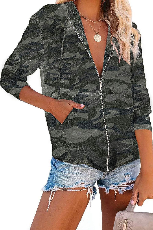 Shawhuwa Womens Sweatshirt Jacket with Hood Pocketed Athletic Jackets with Zipper
