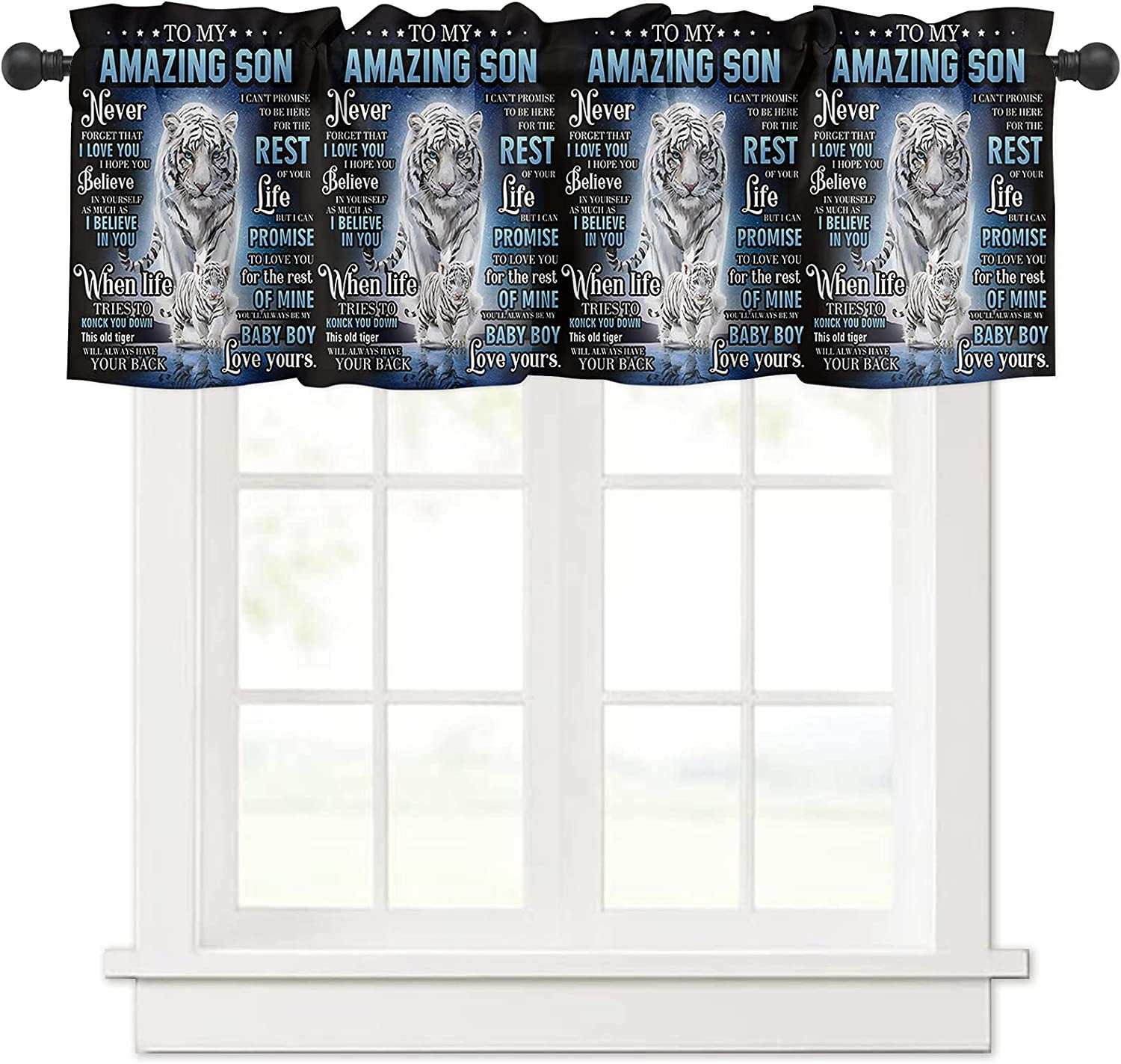 Rapid rise Limited time cheap sale Son Gifts Love Quotes Tiger Curtain for Animal Valances Windows