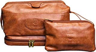 Leather Toiletry Bag for Men - Hanging TSA Approved Essentials Travel Bag for Toiletries & Clear Bottles - Waterproof Men's Toiletry Travel Bag + BONUS Leather Small Bag for Accessories - Great as GlFT