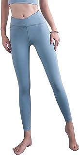 ANIMQUE Leggings de yoga para mujer, con diseño de cruz en el vientre, fitness, fitness, con push-up, superelásticos, para...