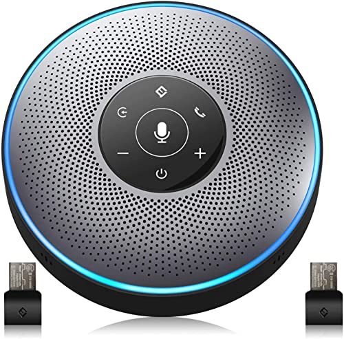 popular Bluetooth Speakerphone - M2 Gray Conference high quality Speaker w/ 2 Dongles, Idea for Home Office 360º Voice Pickup 4 AI Echo & Noise Canceling Microphones, high quality Skype USB Speakerphone AUX in/Out for up to 8 People sale