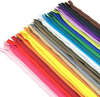 60pcs 9 inch Zippers-25Colors Nylon Coil Zipper Bulk #3 Zippers for Tailor Sewing Crafts(Net Length 7.5inch)