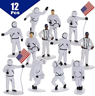 GiftExpress 12 pcs Astronaut Toy Figures, Outer Space Astronaut Prentend Play Toys, Astronomy Space Toys, Cupcake Topper Figures
