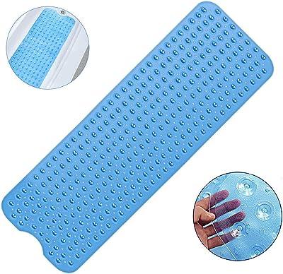 HENJI Alfombra de bañera Antideslizante,Alfombrilla para Bañera, Extralargo con 200 Potentes Ventosas,Antibacterial,Resistente al Moho 101x40.5cm (Azul)
