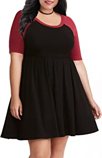 Nemidor Women's A-line Raglan Sleeves Plus Size Black Casual Skater Dress