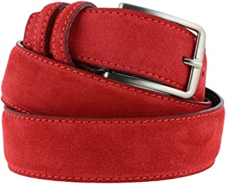 La Bottega del Calzolaio Cintura in pelle uomo donna scamosciata classica rosso, artigianale, made in italy