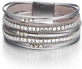 Silver Multi-Layer Leather Bracelet - Alloy Magnetic Clasp Handmade Braided Boho Wrap Bracelets for Women,Girls,Mother