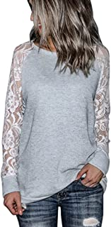 Orangeskycn Fashion Womens Casual Lace Long Sleeve Pullover Crop O-Neck T-Shirt Blouse Tops