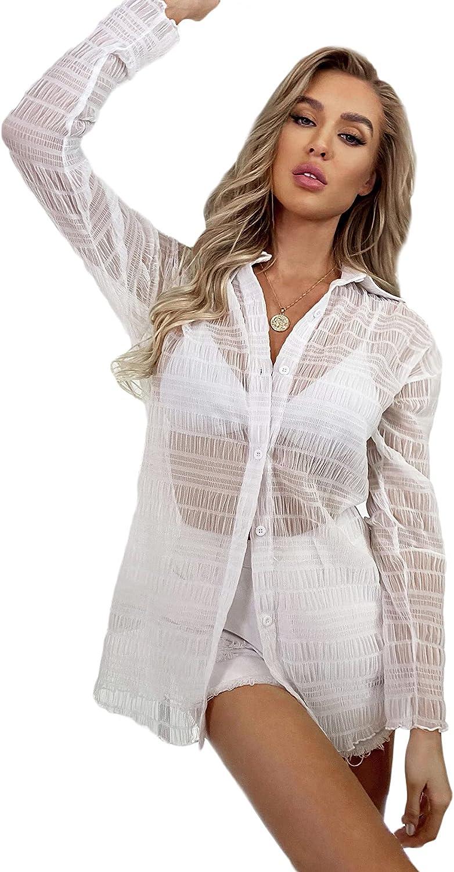 MakeMeChic Women's Casual Sheer Mesh Button Front Long Sleeve Blouse Top