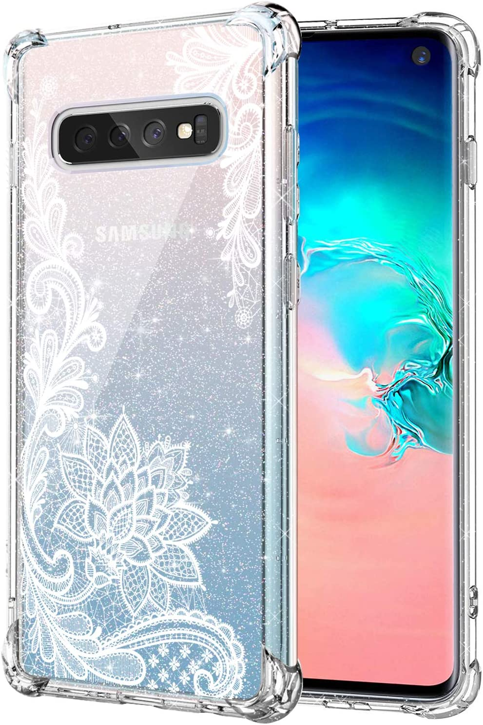KIOMY Clear Glitter Case for Samsung Galaxy S10, Girls Women Bling Sparkly Shiny Luxury Case with Lace Flower Design Shockproof Bumper Protective Floral Cell Phone Back Cover Slim Fit Flexible Shining