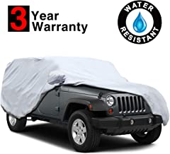 KAKIT 5 Layers Waterproof Jeep Cover for Jeep Wrangler 4 Door 2007-2017, Windproof Scratch Resistant Sun UV All Weather Car Covers, Windproof Ribbon & Anti-Theft Lock