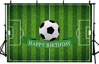 MEHOFOTO Football Theme Happy Birthday Photography Backdrop Party Decoration Soccer Field Banner Photo Studio Background 7x5ft