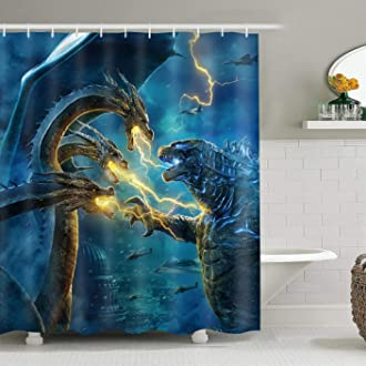 EARVO Fire and Ice Water Shower Curtain Artistic Dancing Flame Splashing Water Bath Curtain for Home Bathroom Decor Hooks Included Water-Repellent Fabric 60x72 inches EADS806-60