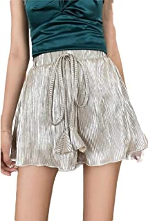 neveraway Women Beach Holiday Over Waist Pleated Baggy Style Dolphin Shorts