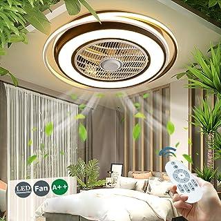 Ventilador De Techo 55W LED Luz De Ventilador Invisible Lámpara De Techo De Ventilador Ajustable Con Iluminación De Dormitorio Lámpara De Sala Estar Regulable Con Control Remoto Ventilador Silencioso