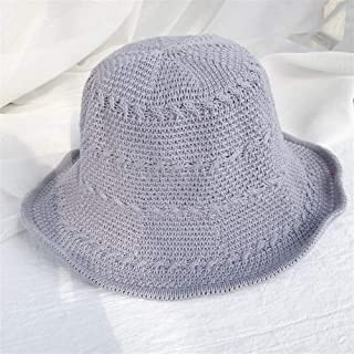 ZiWen Lu 2019 New Spring and Summer hat Sun Bucket hat Female Korean Breathable Knit Collapsible Sun hat Thin Section (Color : Grey, Size : One Size)