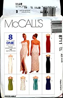 McCalls 8711 AX Evening Gown Cocktail Dress Sewing Pattern Sizes 4-6-8