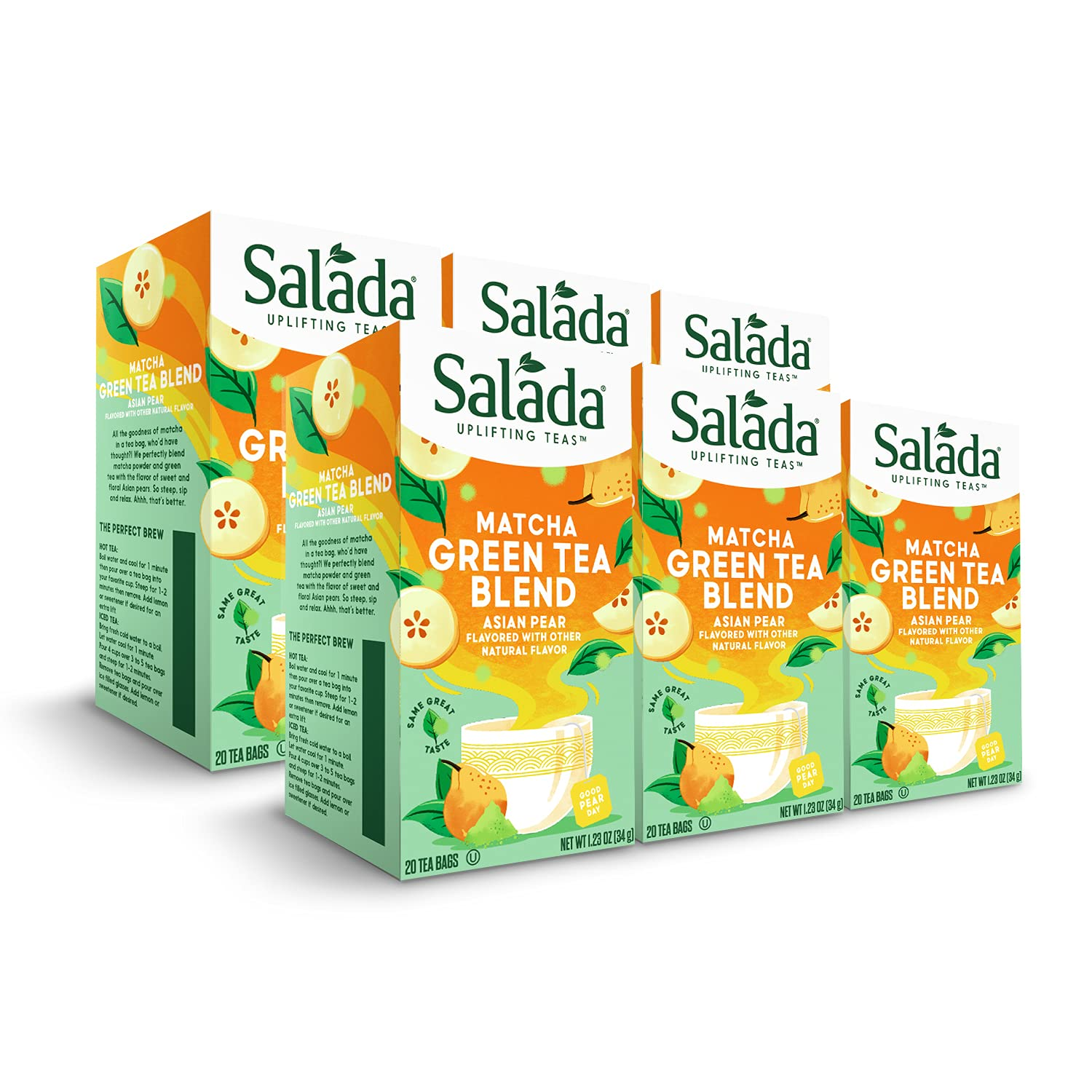 Salada Challenge the lowest price Asian Pear Matcha Green 120 Blend Wrapp Max 72% OFF Tea Individually