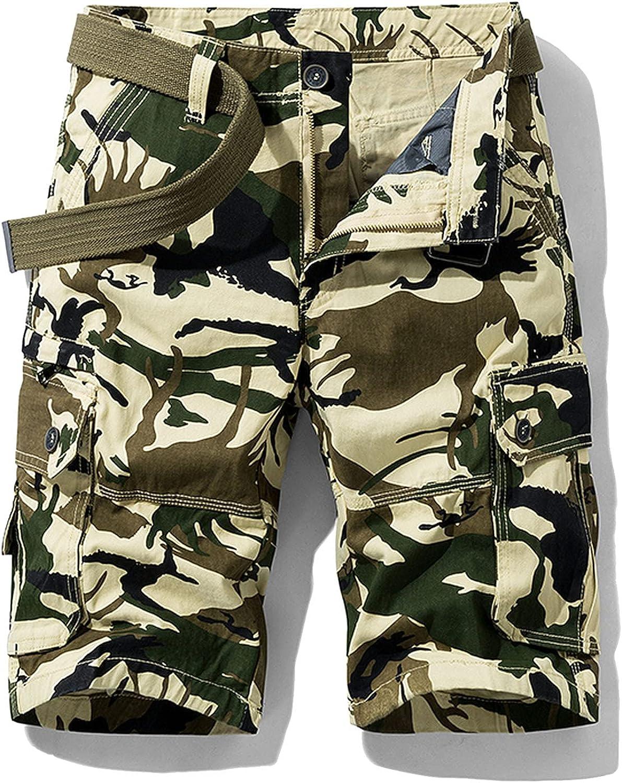 B dressy New Summer Cargo Shorts Men Camouflage Cotton Khaki Loose Casual Outwear Overalls-Khaki-3-28