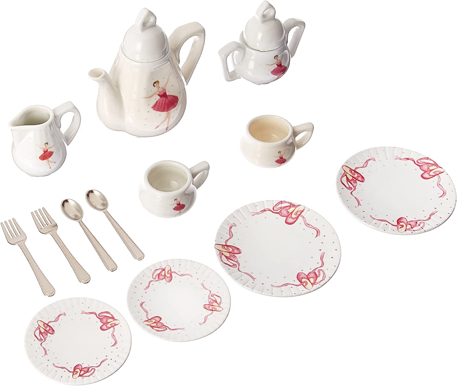 Delton Products Ballerina Tea Set for Two in Basket (18 Piece)