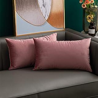 softpoint Fundas de cojín de terciopelo rosa 30 cm x 50 cm, fundas de almohada decorativas suaves de 30,5 x 50,8 cm para sofá, cama, sofá, paquete de 2 (rosa, 12 x 20)
