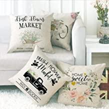 ULOVE LOVE YOURSELF 4Pack Farmhouse Throw Pillow Covers Home Sweet Home Pillowcases with Fresh Flowers Decorative Square Cushion Cover 18x18 Inches for Sofa Couch Housewarming Gifts
