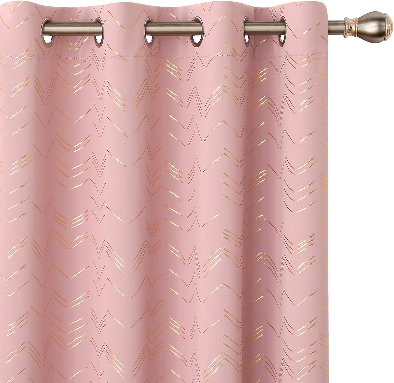 Amazon Brand - Umi Cortinas Opacas Dormitorio Moderno para Ventanas de Lino con Ollaos Juego de 2 Piezas 140x245cm Rosado