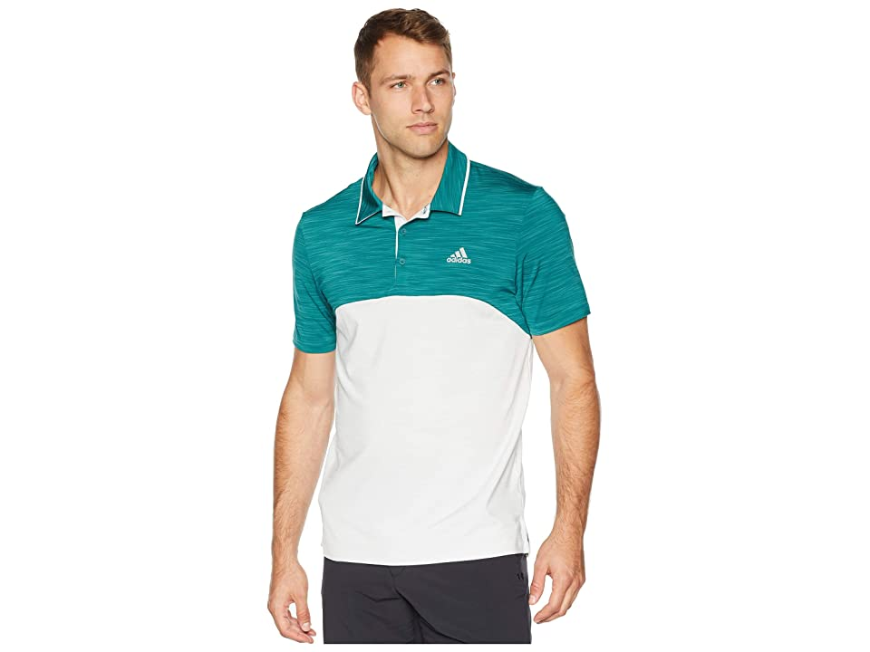 adidas Golf Ultimate Heather Blocked Polo (Noble Green/Grey One Heather) Men
