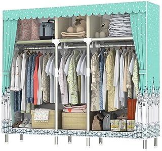 Armoire de rangement pour placard de rangement pour vêtements portables à la maison avec un tissu de coton épais en polyes...