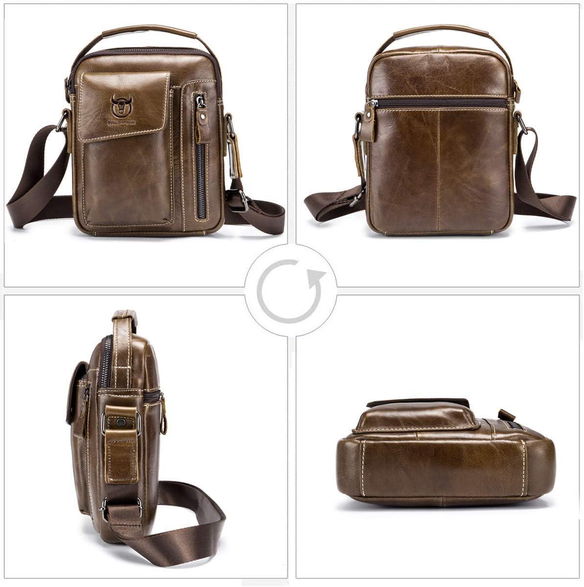 SDINAZ Herren Umh/ängetasche Umh/ängetasche erste Schicht Rindsleder Mode Business l/ässige Handtasche braun