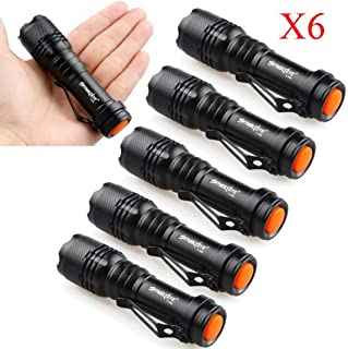 Glumes Cree Led Torch Light,Pack of 6PCS Super Bright 1200 Lumens Powerful Q5 Pocket Flashlight Zoomable Lighting Tactical Gear for Military Police Special Forces