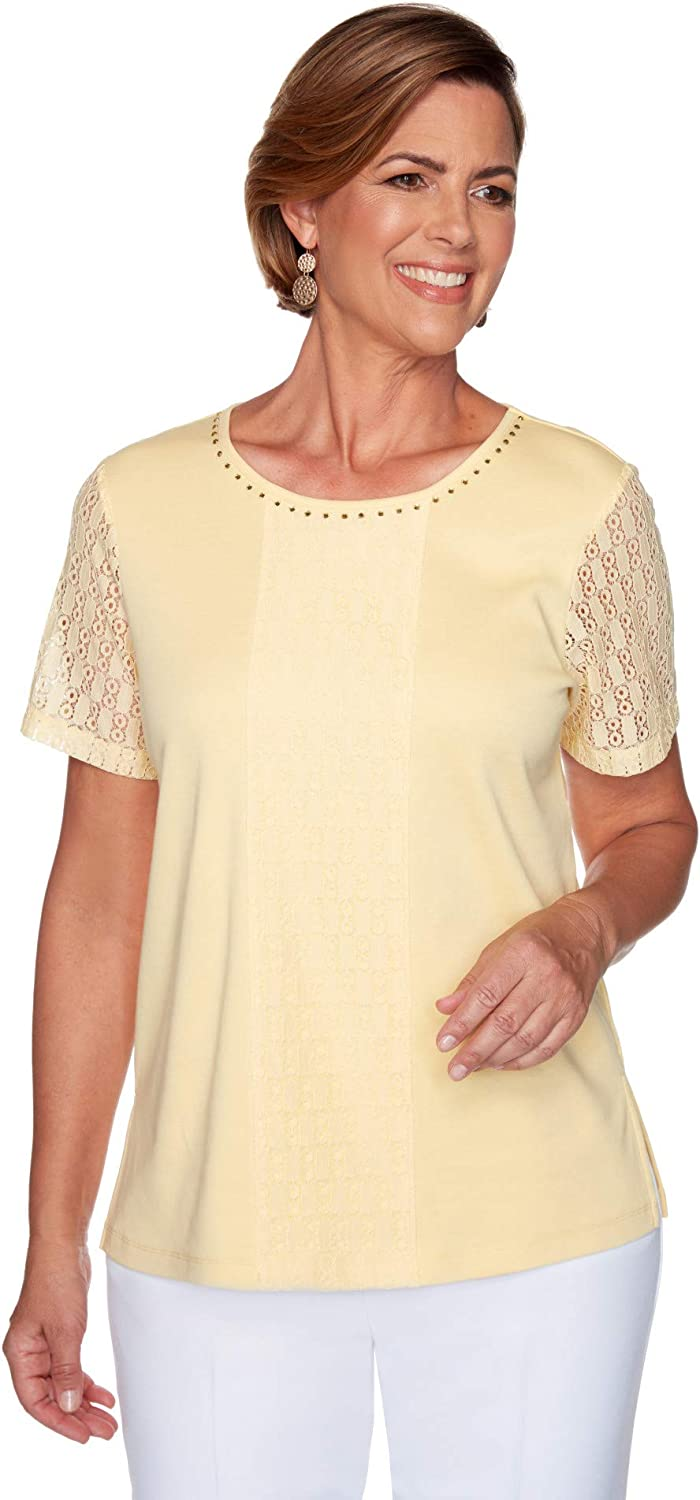 Alfred Dunner Classic Short Sleeve Yellow With Center Lace (Size Petite Small)