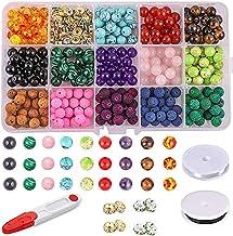 Charming Beads Fil De 90 Vert//Brun Grenat 4mm Rond Perles CB42293-1