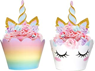 Party City 40th Birthday Decorations 5 Unicorn Cupcake Double Sided Toppers And Wrappers Rainbow Gold Glitter
