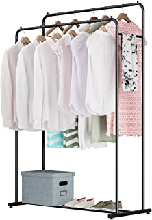 Rackaphile Clothes Rack, Clothes Organizer, Adjustable Double Rails Heavy Duty Garment Rack for Balcony and Bedroom (Black)