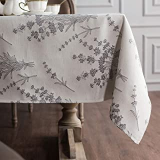 """ARTABLE Fabric Tablecloths Rectangle Tablecloth with Exquisite Patterns and Well-Trimmed Edge for Elegant Holiday Long Dinner Tables (Gray, 58""""x84"""" Lavender)"""