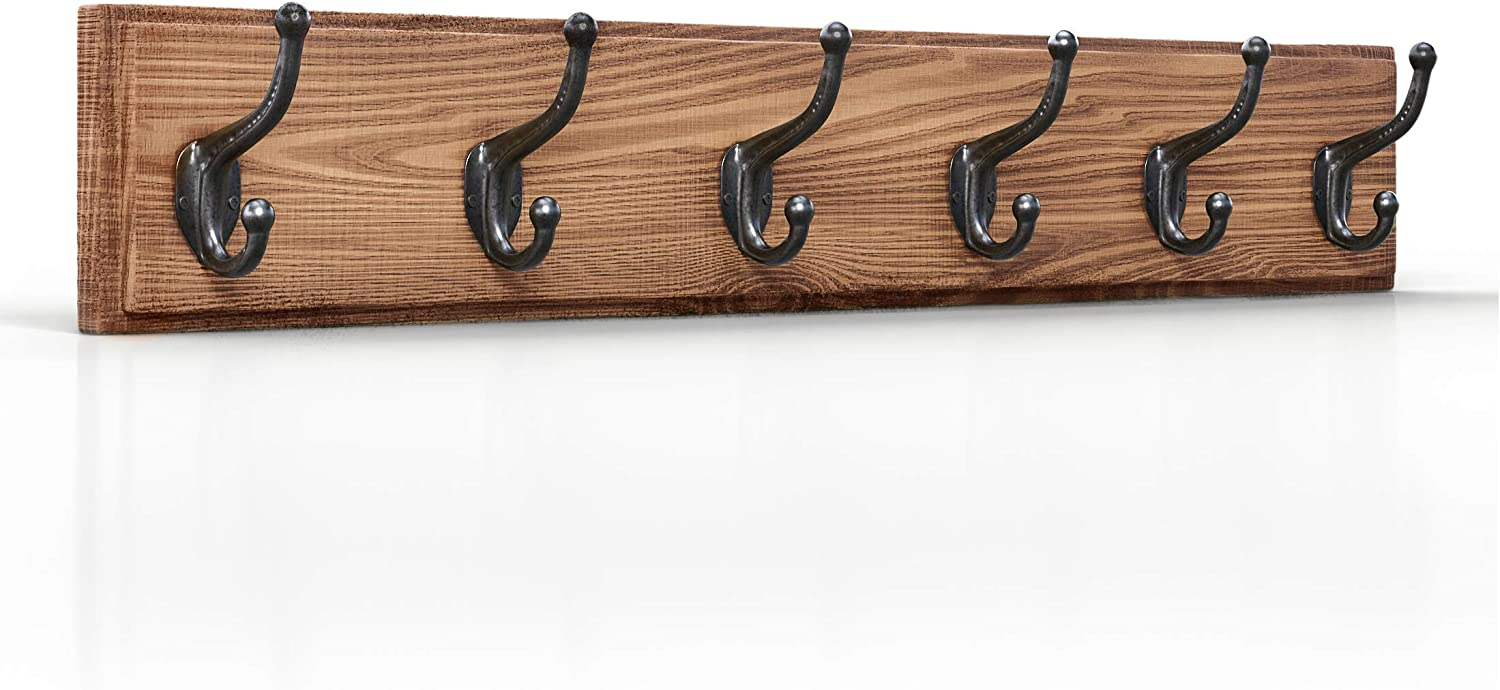 Domek Vintage Rustic Wall Mounted Wooden Coat Rack with 5 Solid Iron Hooks (33.5  Long) Perfect for Entryway, Bedroom, Mudroom