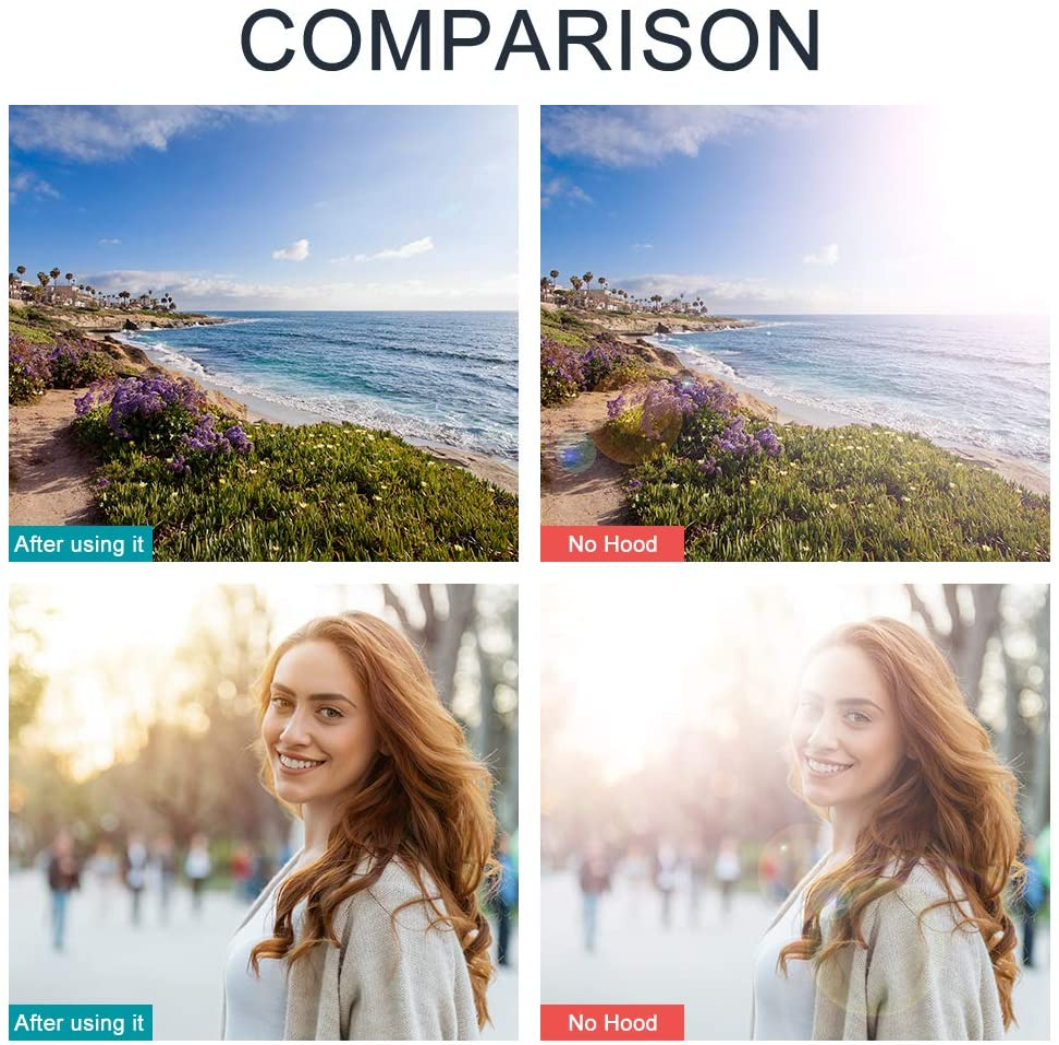 para c/ámaras Canon Olympus Sony Pentax Parasol reversible de 52 mm Fuji Nikon parasol universal con dise/ño de tulip/án con tapa de objetivo central