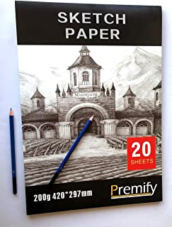 Premify A3 Sketch Paper Pad 200g, 20 Sheets (420 X 297mm) Artist Sketchbook with Thick Drawing Papers Acid Free, Professio...