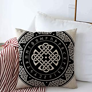 Pillow Case Europe Nordic Celtic Shield Decorated Ancient European Pattern Fortune Viking Vintage Odin Asatru Home Decor Throw Pillows Covers 18