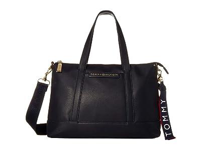 Tommy Hilfiger Lottie Smooth PVC Satchel (Tommy Navy) Satchel Handbags
