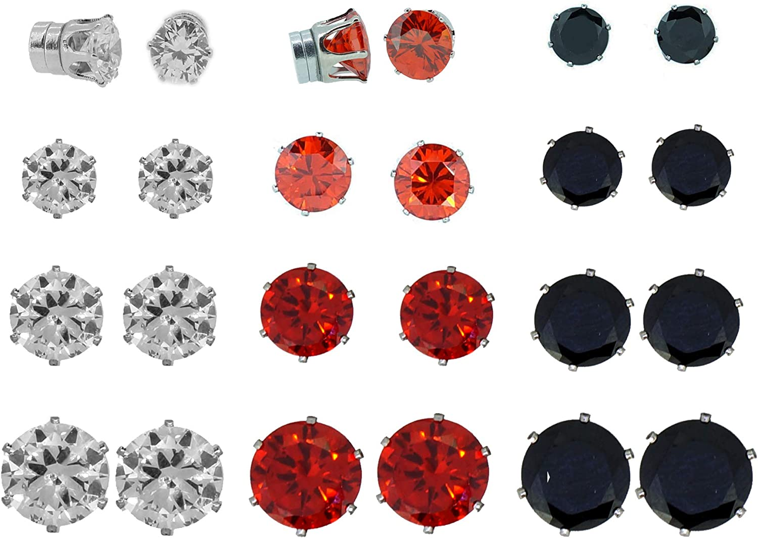 Mix Color Cubic Zirconia CZ Crystal Magnetic Clip On Stud Earrings, Pack of 12 Pairs, 3 Color Set for Teen Girls Women