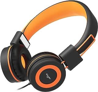 Elecder i37 Kids Headphones Children Girls Boys Teens Foldable Adjustable On Ear Headphones 3.5mm Jack Compatible iPad Cellphones Computer MP3/4 Kindle Airplane School Tablet Orange i37