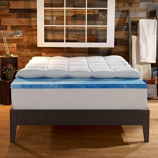 Sleep Innovations 4 In Dual Layer Mattress Topper Gel Memory Foam And Plush Fiber