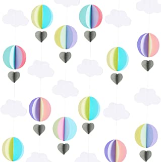 6 Pieces Hot Air Balloon Garland 3D Clouds Garland 3D Clouds Paper Hanging Decoration for Birthday Wedding Engagement Baby Shower Party Nursery Room Supply