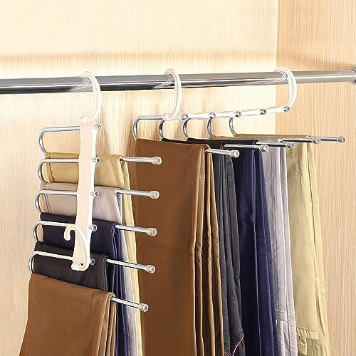 lanliebao 2 Pack Adjustable 5 in 1 Pants Hangers,Multi-Layer Hanger Made of Plastic & Aluminum for Wardrobe,Home Stor...