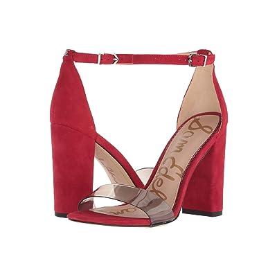 Sam Edelman Yaro Ankle Strap Sandal Heel (Clear/Deep Red Vinyl/Kid Suede Leather) Women