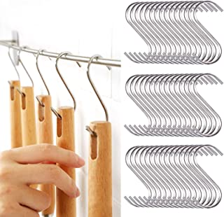 60 Pack Stainless Steel S Hooks, Heavy Duty S Shaped Hangers for Bathroom, Office and Kitchen