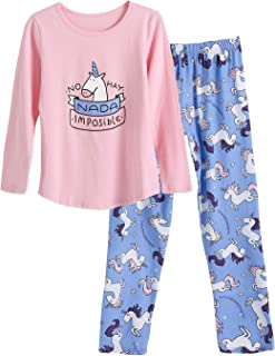 Big Girls Unicorn Cotton Pajama Set Pants & Long Sleeve Teens Sleepwear Kids Size 12-18